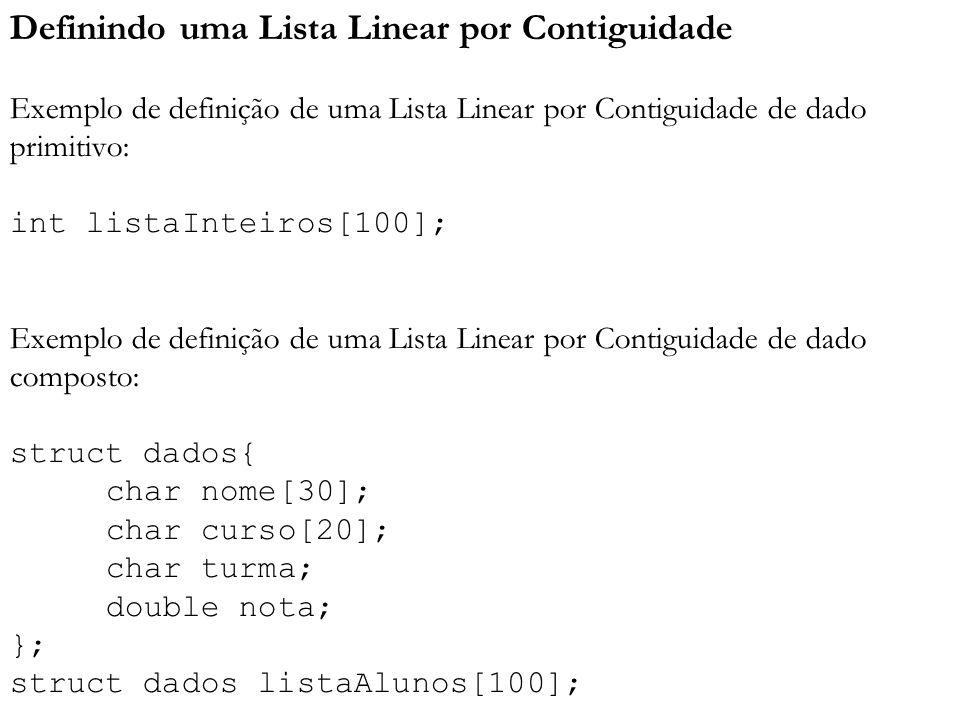 Definindo uma Lista Linear por Contiguidade Exemplo de definição de uma Lista Linear por Contiguidade de dado primitivo: int listaInteiros[100]; Exemplo de definição de uma Lista Linear por Contiguidade de dado composto: struct dados{ char nome[30]; char curso[20]; char turma; double nota; }; struct dados listaAlunos[100];